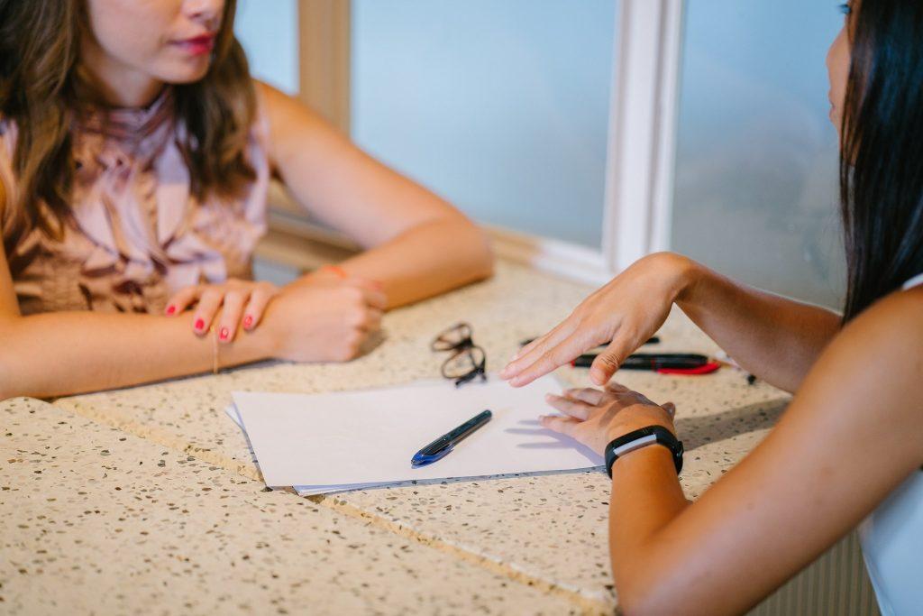 Business meeting between two women