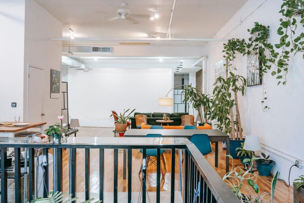 Grande salle ouverte décorée avec des plantes