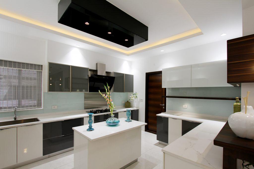 Modern white kitchen with indirect lighting