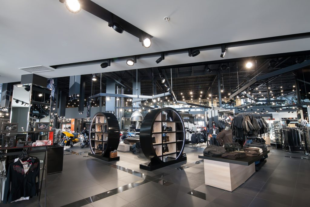 Industrial style clothing store