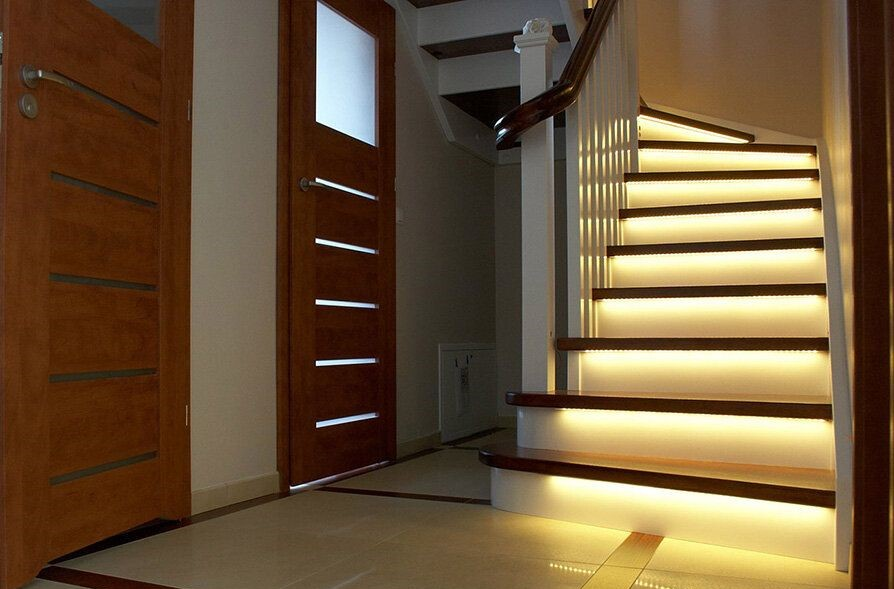 staircase with illuminated steps