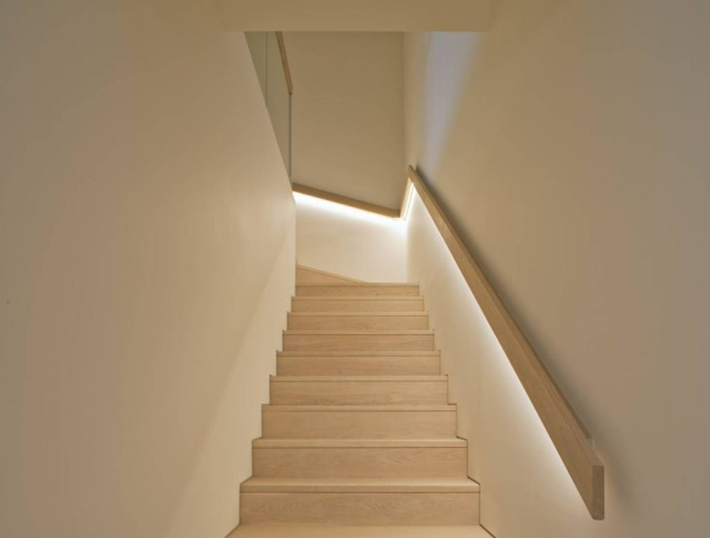 Stairs with a lighted ramp