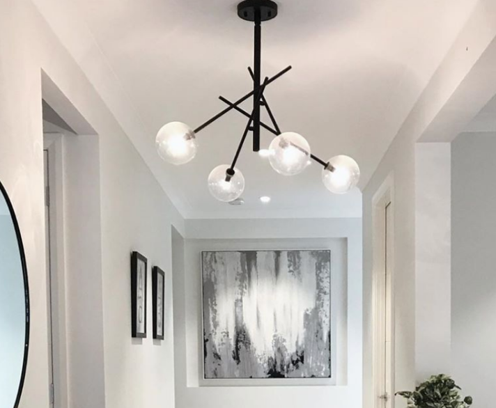 Hanging light in a hallway