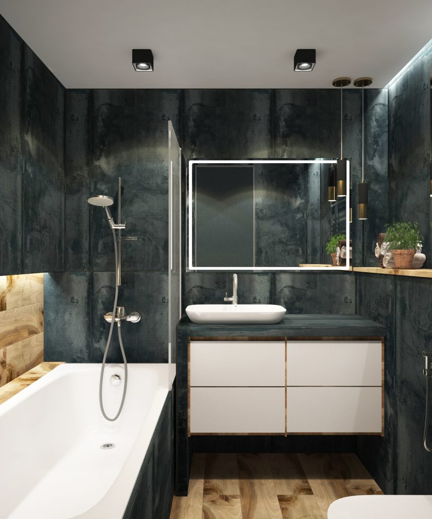 Bathroom made of ceramic and wood in a blue color