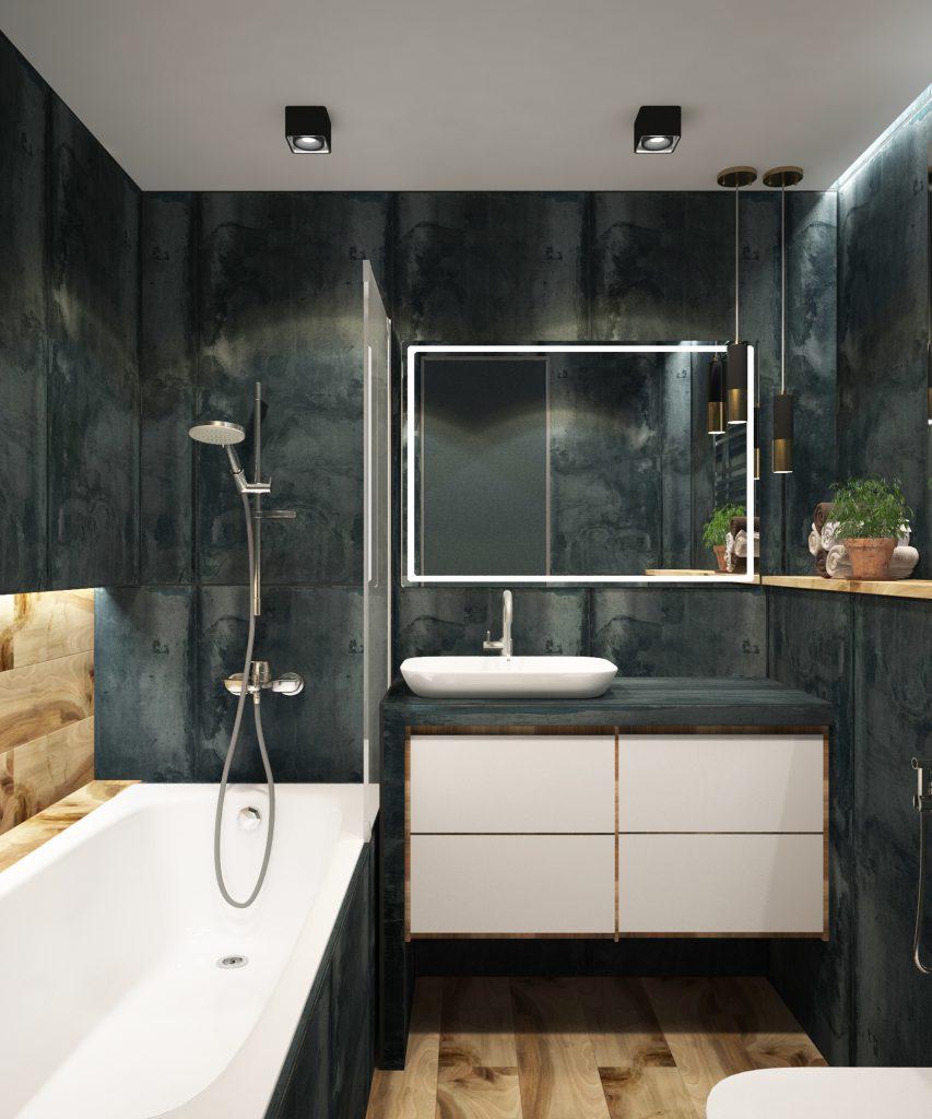 Salle de bain fait de céramique et de bois de couleur bleu