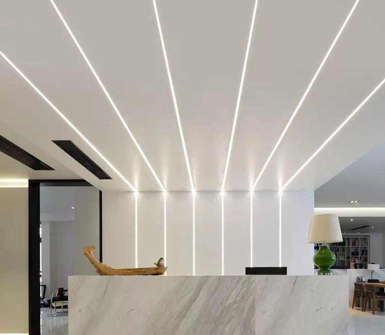 Reception desk with decorative recessed lighting