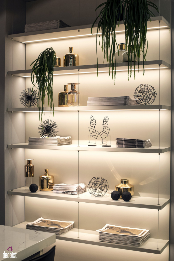 Shelf with LED strip lighting