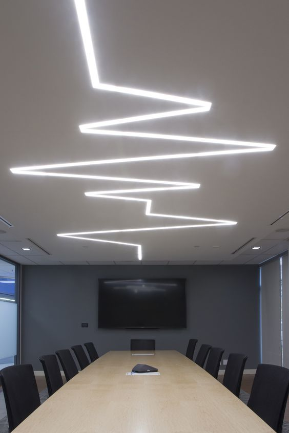 Conference room with decorative recessed lighting