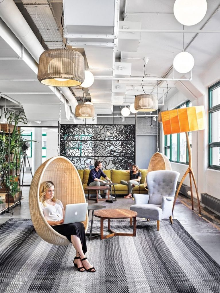 Modern workspace with chairs and pendant lights