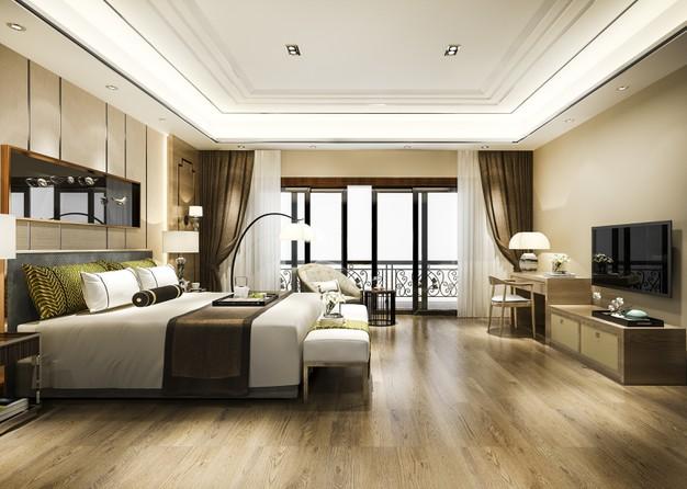 Chambre à coucher éclairé indirectement au led et avec des lampes sur pied