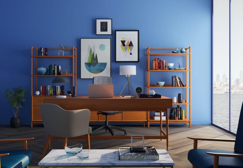 Bureau bleu avec de l'art visuel