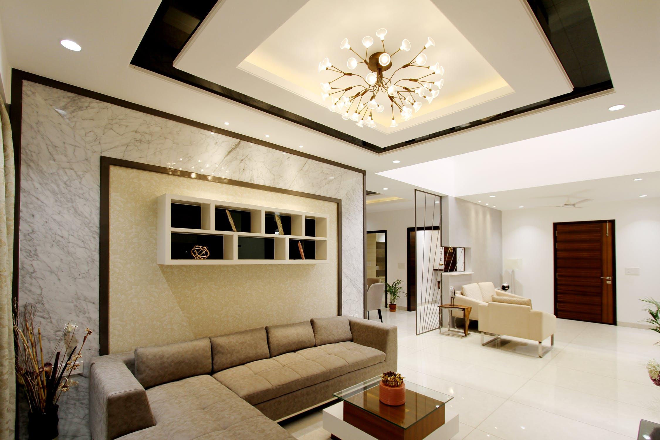 Luminaire suspendu de salon avec éclairage LED indirect