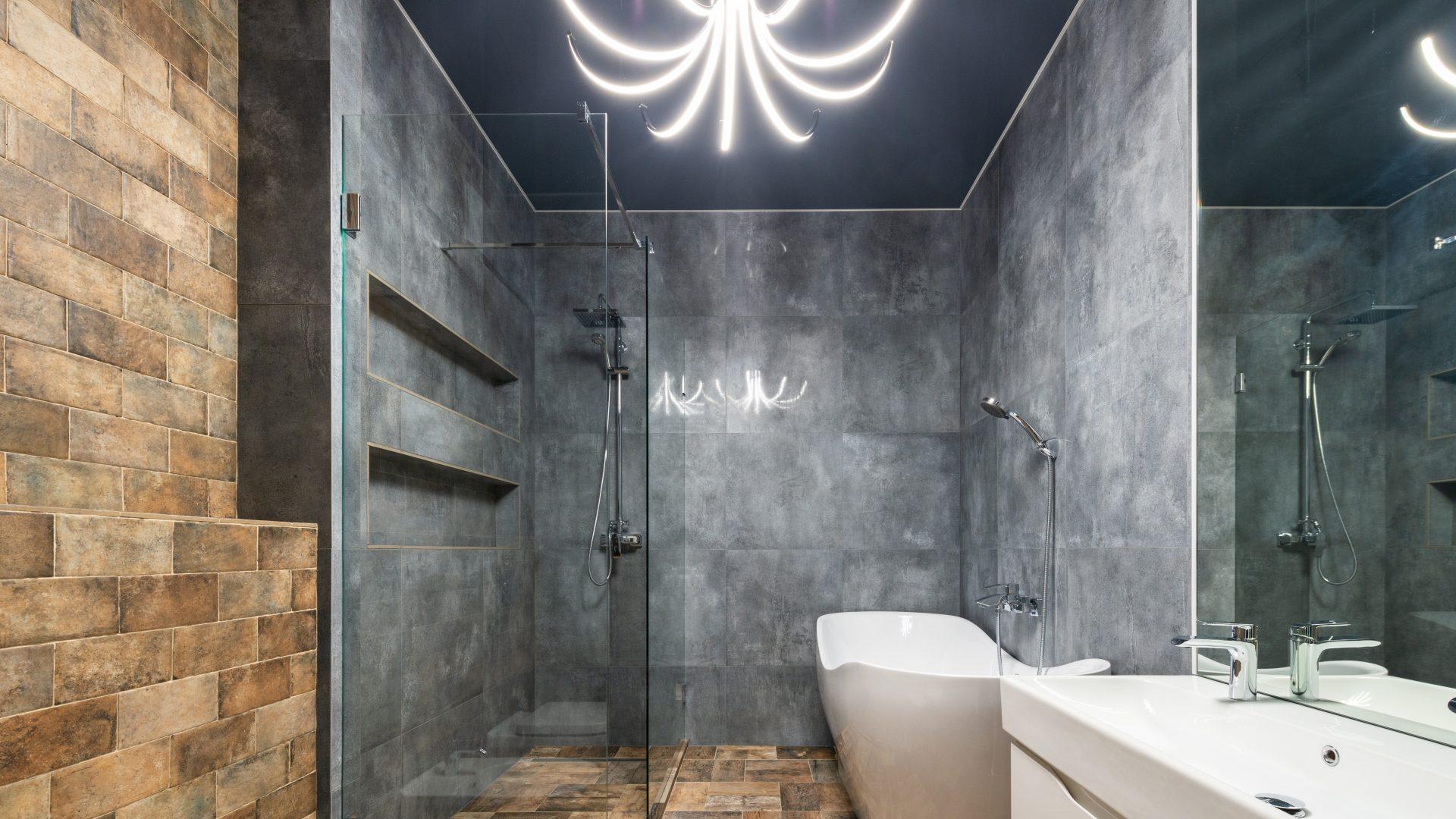 Douche de style industriel avec rubans LED décoratif