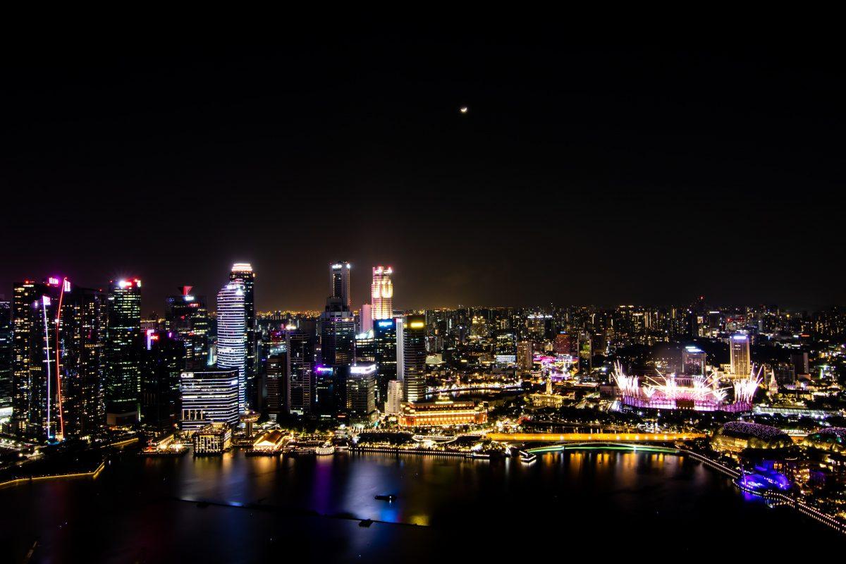Illuminated city creating light pollution