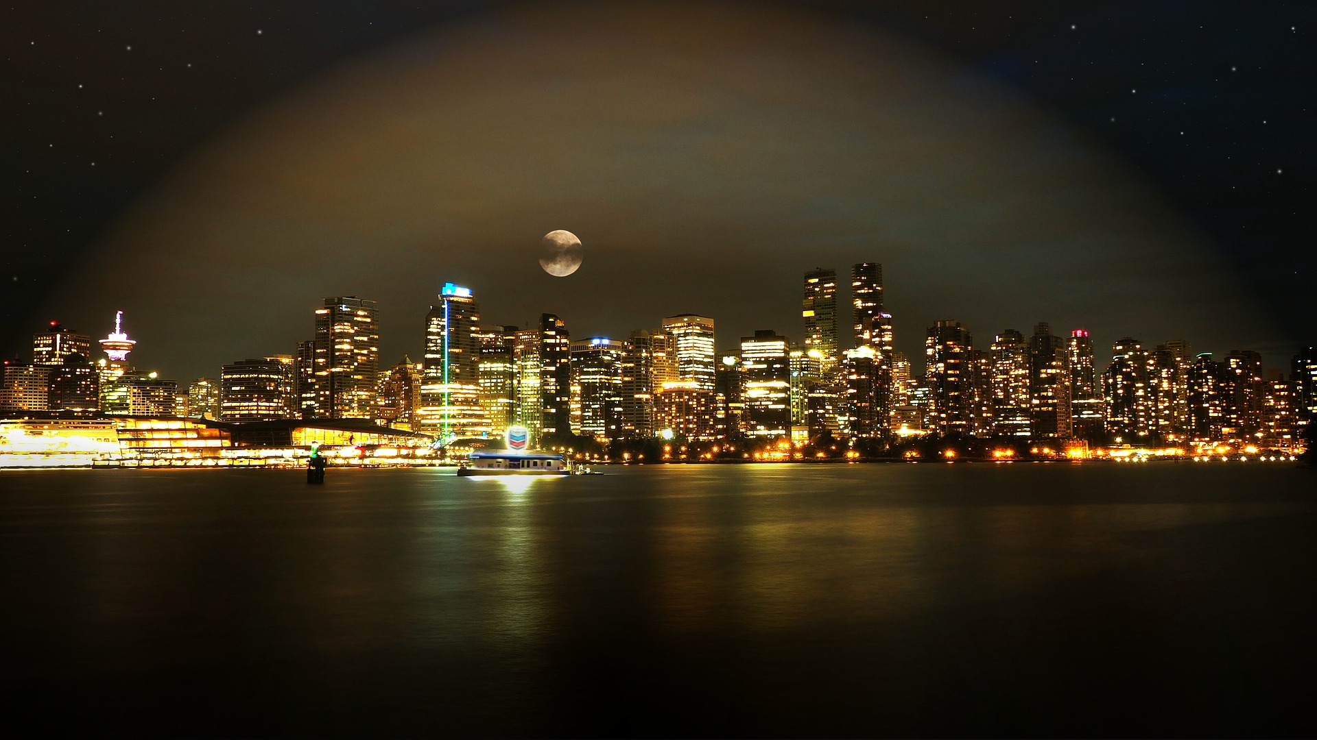 Illuminated city of Vancouver producing light pollution