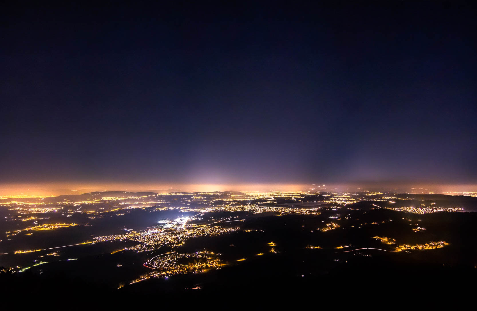 Lighting pollution of a city