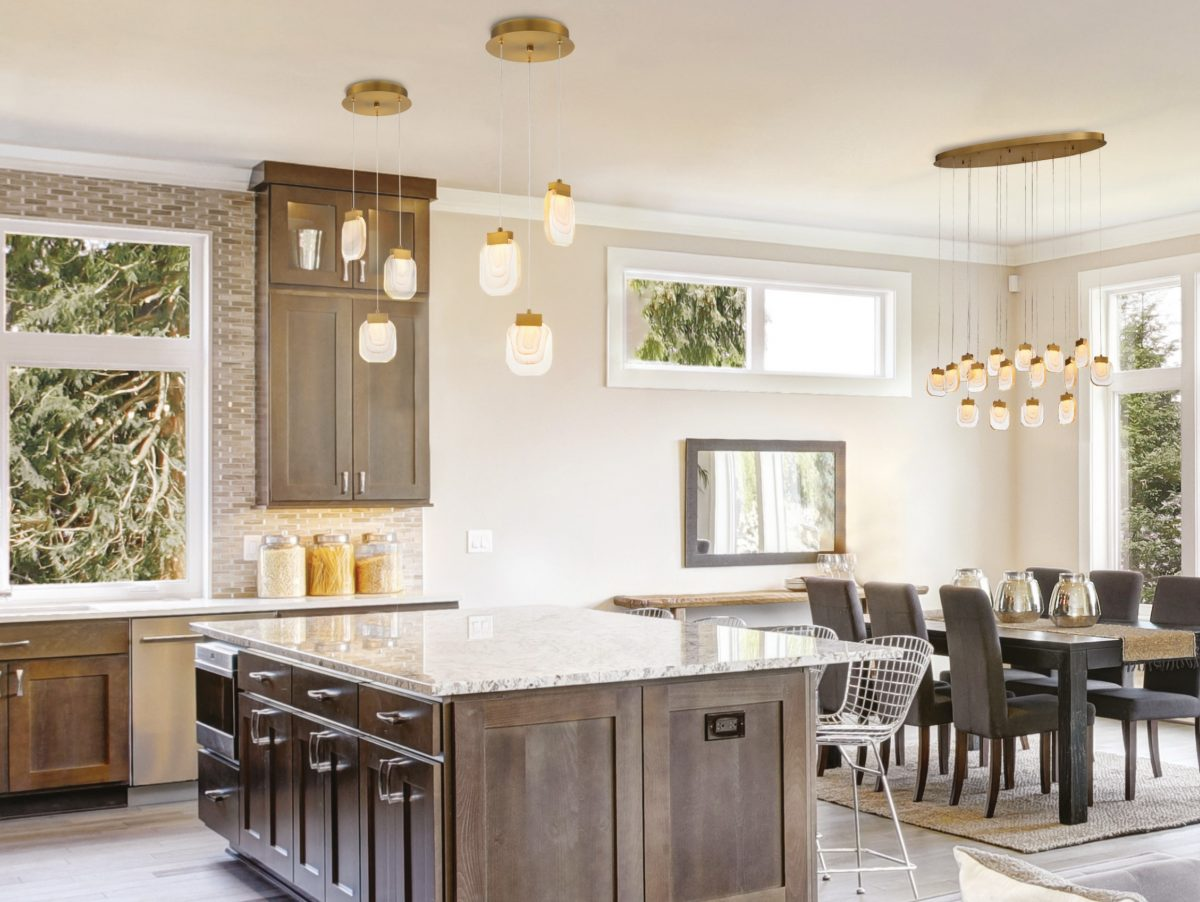 Kitchen and dining room with modern lighting